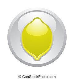 Gray button Lemon, vector