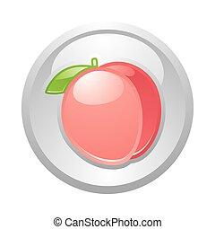 Gray button Peach, vector