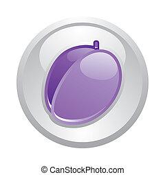 Gray button Plum, vector
