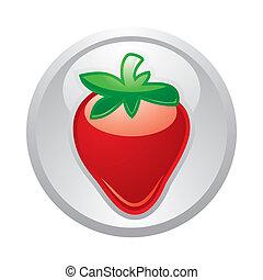 Gray button Strawberry, vector