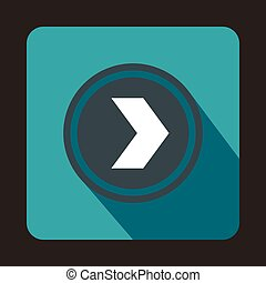 Gray button with whire arrow icon, flat style