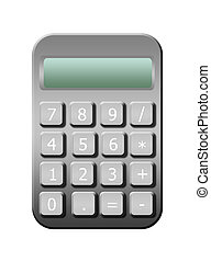 calculator - gray calculator with numbers over white...