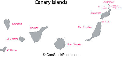 Gray Canary Islands map - Administrative division of the...
