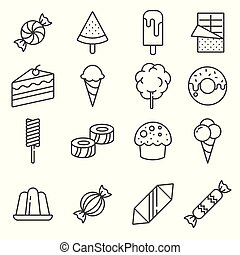 Gray Candy vector icon set on background