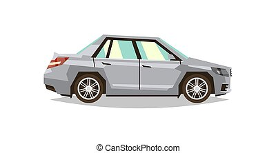 Gray car sedan. Side view. Transport for travel. Gas engine. Alloy wheels. Vector illustration. Flat style