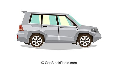 Gray car SUV. Side view. Transport for travel. Gas engine. Alloy wheels. Vector illustration. Flat style