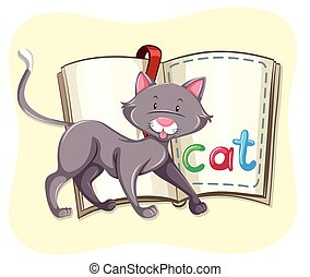Gray cat and a book