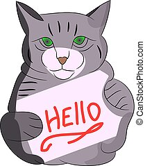 Gray cat with frame, cartoon on white background.