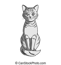 Gray cat.Animals single icon in monochrome style vector symbol stock illustration web.