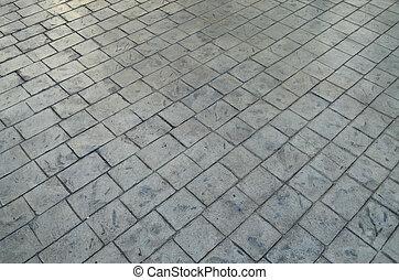 Gray cement block pavement