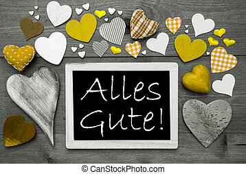 Gray Chalkbord, Yellow Hearts, Alles Gute Means Best Wishes