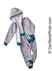 Gray children's sportive costume isolated on the white background.