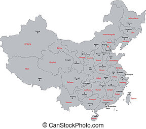 Gray China map - Gray administrative divisions of China with...