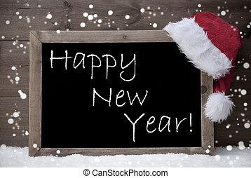 Gray Christmas Card, Blackboard, Happy New Year, Snow