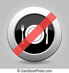 gray chrome button - no fork and knife with plate