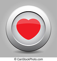 gray chrome button with red heart