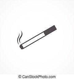 Cigarette icon - Gray Cigarette icon Vector on white...
