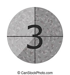 Gray circle with the number 3. Vector illustration on a white background.