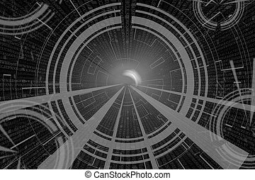 gray circular glow wave. scifi or game background. - gray...