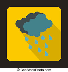 Gray clouds and water drops icon, flat style