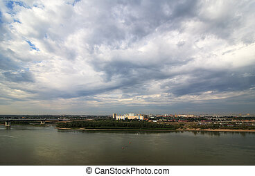 Gray clouds over the city. Omsk. Russia.