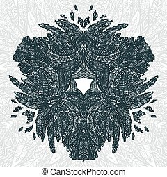 Gray color hand drawn doodle style feathers abstract mandala background