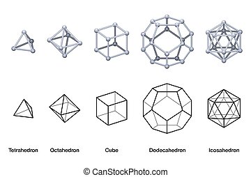 Gray colored Platonic solids 3D and black wireframe models. ...