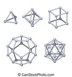 Gray colored Platonic solids 3D over white - Gray colored ...