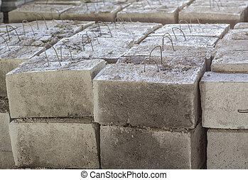 Gray concrete construction block
