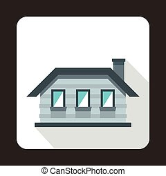 Gray cottage icon in flat style