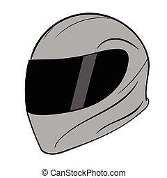 Gray crash helmet