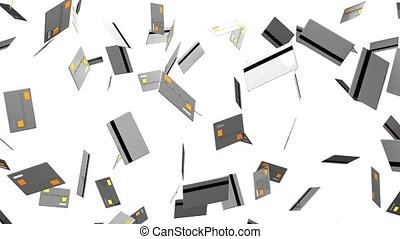 Gray Credit cards on white background. Loop able 3D render...