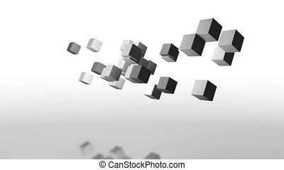 gray cubes rotate horizontally with a mirror reflection from below as in water graphics design minimalism