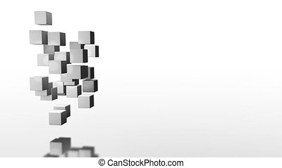 gray cubes rotate in a mess and become a big cube graphics design minimalism.