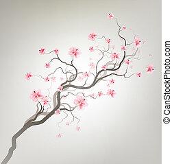 Gray Design Background With Sakura Tree