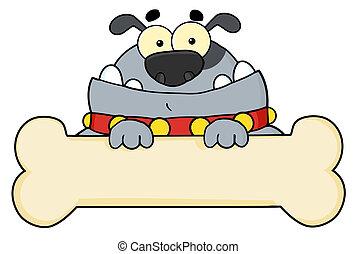 Gray Dog Over A Blank Bone Sign