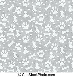 Gray Doggy Tile Pattern Repeat Background - Gray Dog Paw...