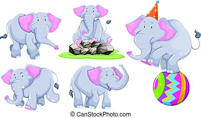 Gray elephant in different actions illustration