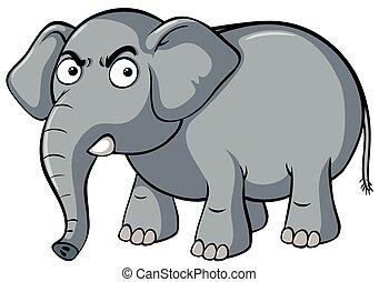 Angry elephant face expression. Cartoon aggressive mascot ...