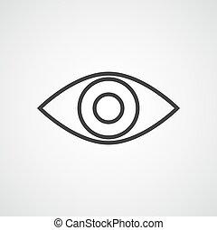 Gray eye icon. Vector illustration.