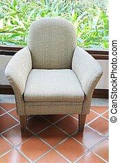 gray fabric chiar , sofa