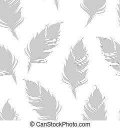 Gray feather silhouette isolated on white background. Seamless pattern. Vector illustration