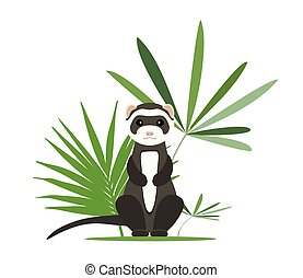Gray ferret in full growth sits in tropical leaves. Vector...