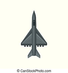 Gray fighter jets with powerful engines. Military aircraft. Flat vector design for poster or mobile game