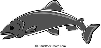 Gray fish, illustration, vector on white background.