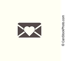 Gray flat vector icon new message with heart close-up. Web icon for a website or smartphone - communication