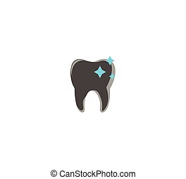 Gray flat vector icon tooth, dentistry clinic, dental treatment - closeup isolated
