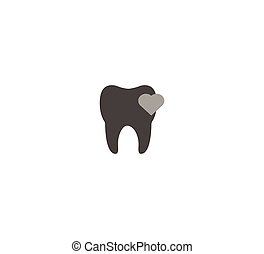 Gray flat vector icon tooth, dentistry closeup isolated