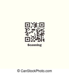 Gray flat vector QR code icon - on isolated background