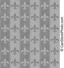 Gray Fleur De Lis Textured Fabric Background that is...